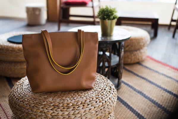 Shopper Linea, in pelle color cuoio