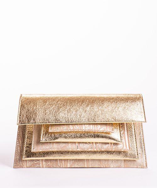 Pochette Mide in pelle dorata, con tracolla rimovibile