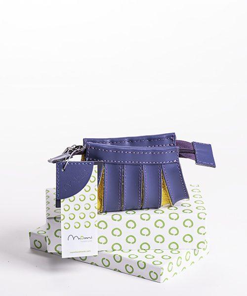 Portamonete Nica in pelle, colore blu e giallo con scatola regalo