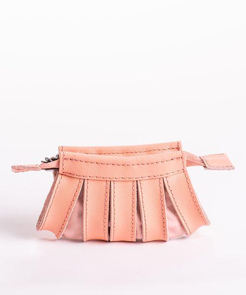 Portamonete Nica in pelle, colore rosa , chiusura con zip