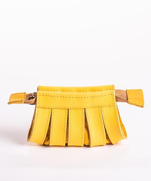Portamonete Nica in pelle, colore giallo, chiusura con zip