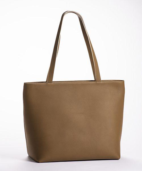 Borsa shopper Linea in vera pelle, con manici a spalla, colore cuoio