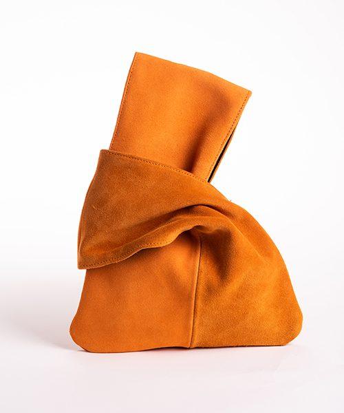 Pochette Kyo da polso in vera pelle, colore arancione