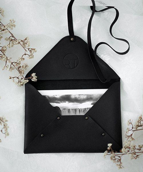 Pochette custodia per fotografie in pelle, colore nero